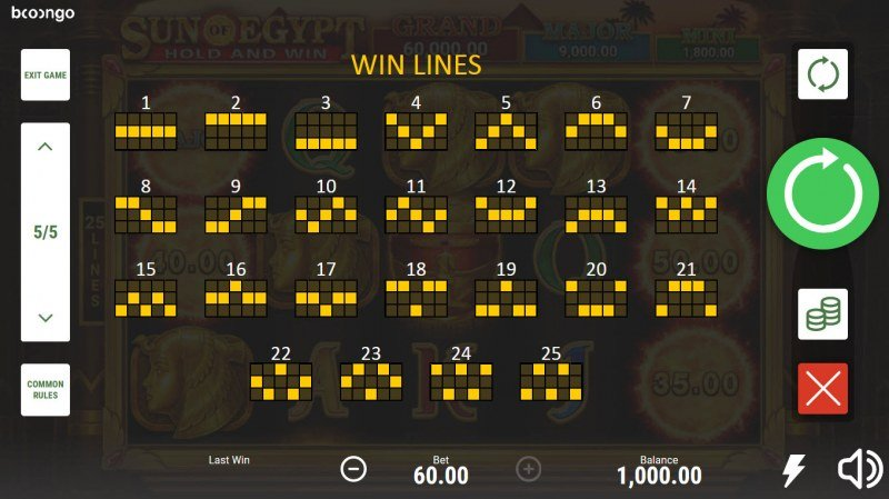 Sun of Egypt Hold and Win :: Paylines 1-25