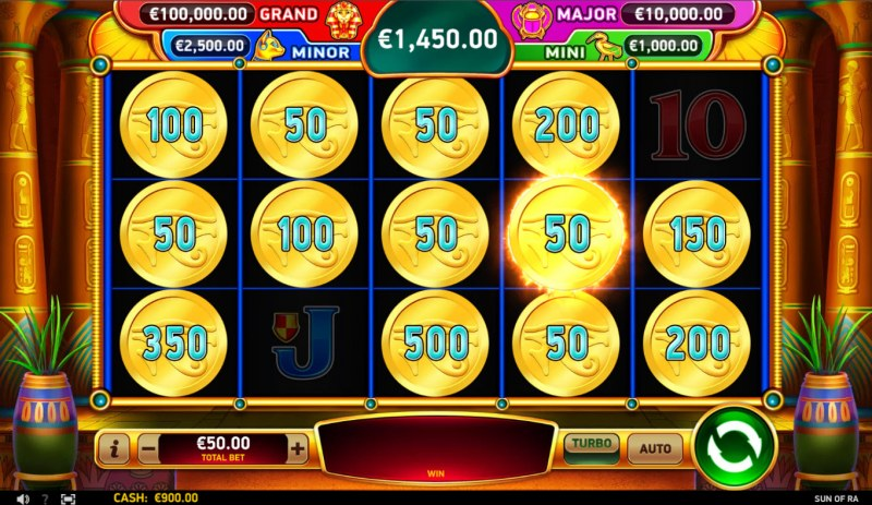 Sun of RA :: Bonus feature ends when no additional prize scatters land on the reels