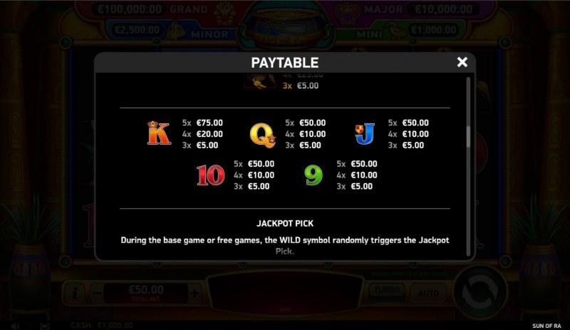 Sun of RA :: Paytable - Low Value Symbols