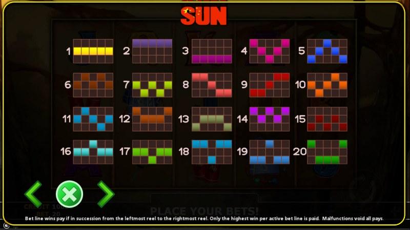 Sun :: Paylines 1-20