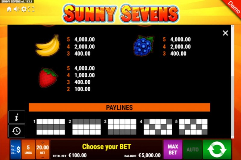 Sunny Sevens :: Paytable - Low Value Symbols