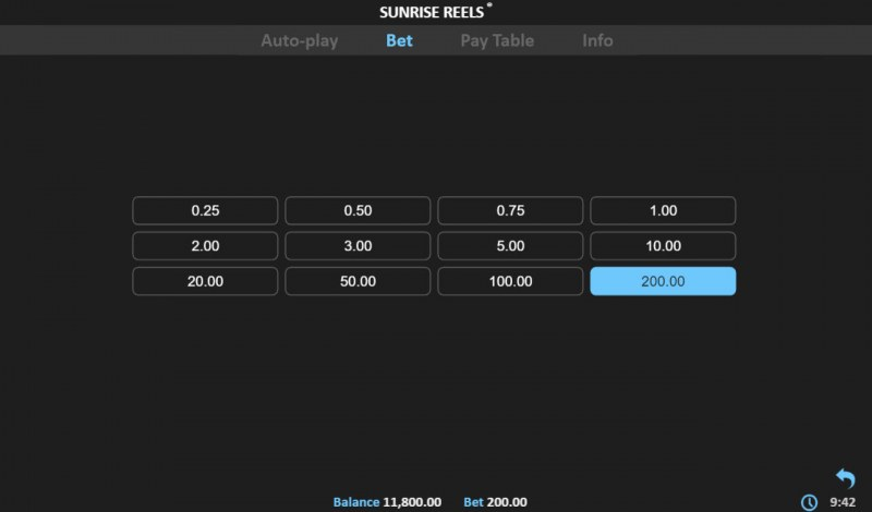 Sunrise Reels :: Available Betting Options