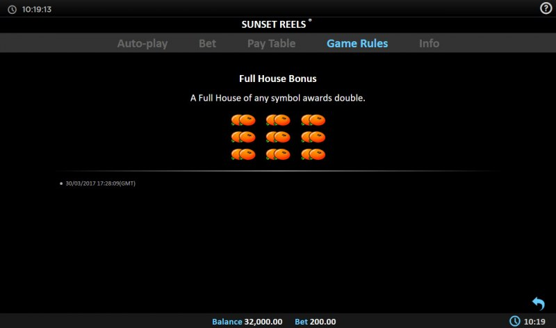 Sunset Reels :: Full House Bonus