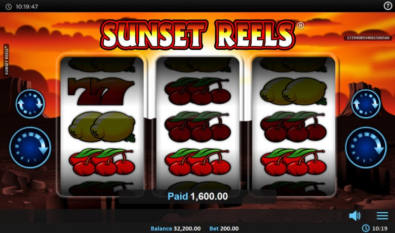 Sunset Reels :: A three of a kind win