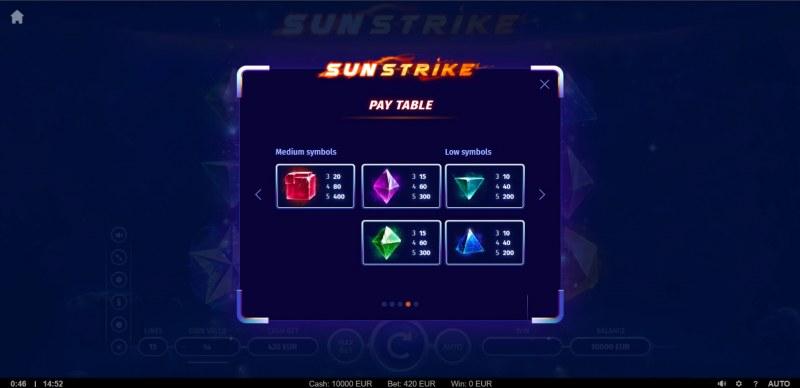 Sunstrike :: Paytable - Low Value Symbols