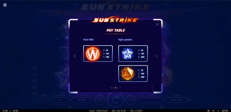 Sunstrike :: Paytable - High Value Symbols