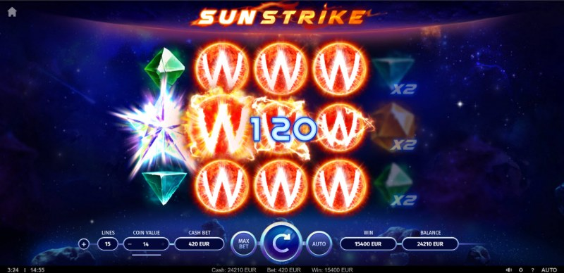 Sunstrike :: Multiple winning combinations lead to a big win