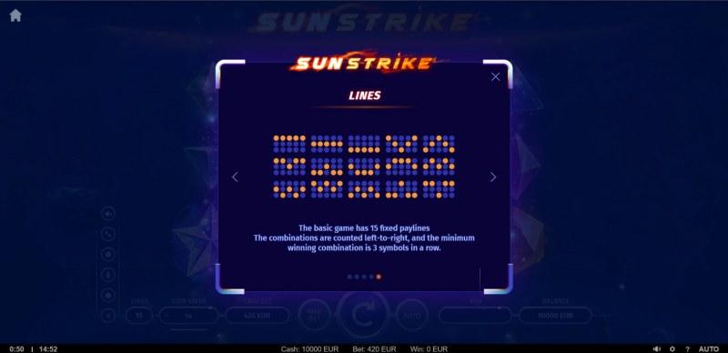 Sunstrike :: Paylines 1-15