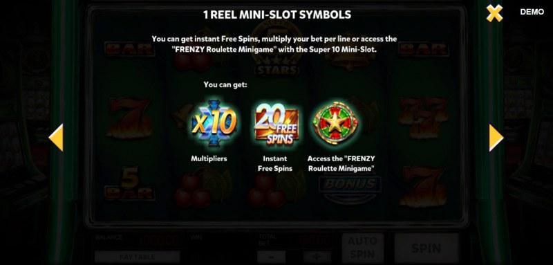 Super 10 Stars :: 1 Reel Mini-Slot Symbols