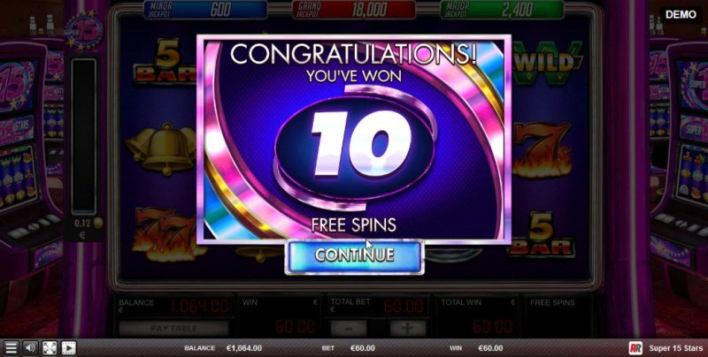 Super 15 Stars :: 10 Free Spins Awarded