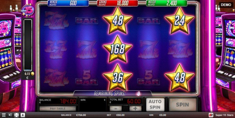 Super 15 Stars :: Reels respin for a chance to land additional stars and more free spins