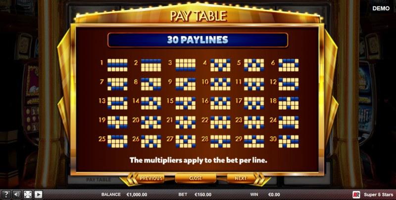 Super 5 Stars :: Paylines 1-30