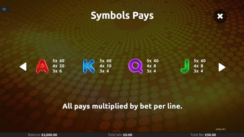 Super 7 Wilds :: Paytable - Low Value Symbols