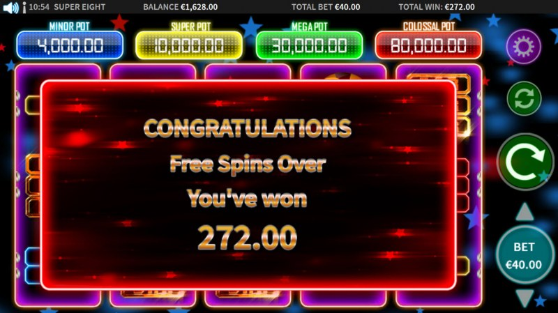 Super 8 :: Total free spins payout