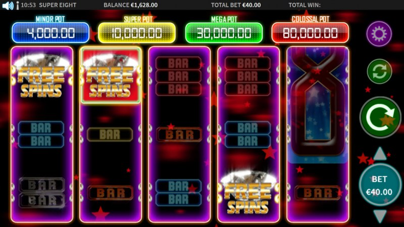Super 8 :: Scatter symbols triggers the free spins feature