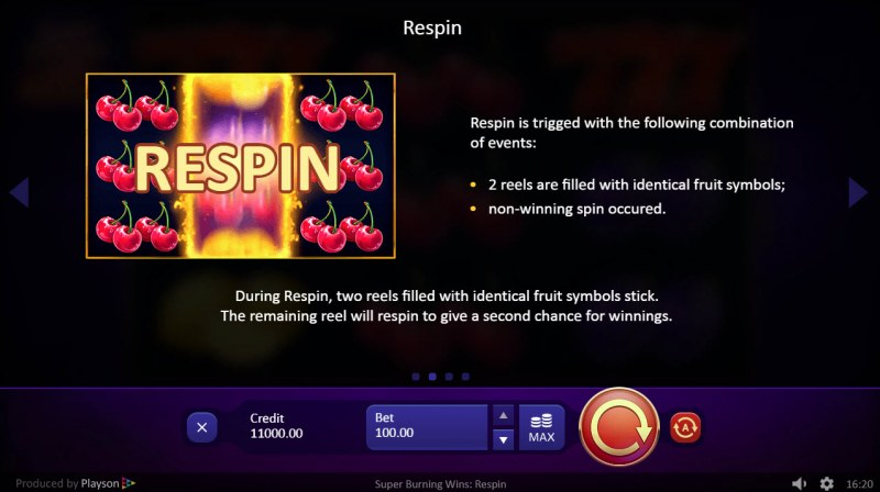 Super Burning Wins Respin :: Respins Feature Rules