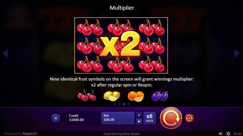 Super Burning Wins Respin :: Multiplier Feature Rules