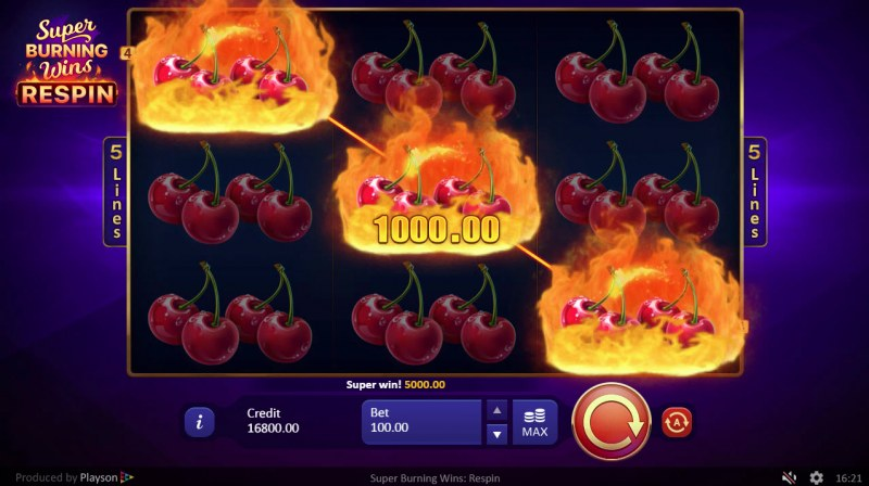 Super Burning Wins Respin :: Multiple winning combinations leads to a big win
