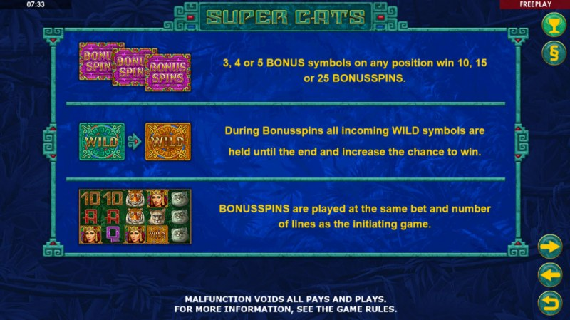 Super Cats :: Free Spins Rules