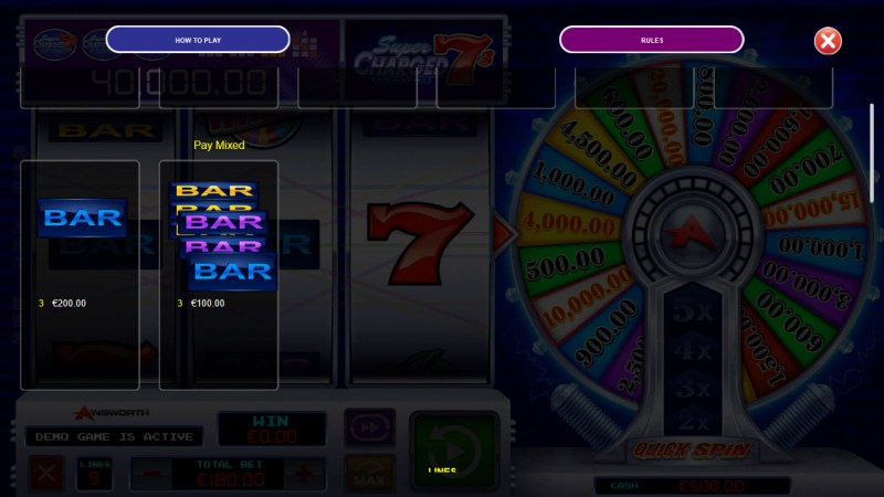 Super Charged 7s Classic Quick Spin :: Paytable - Low Value Symbols