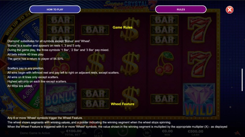 Super Crystal 7s Quick Spin :: General Game Rules