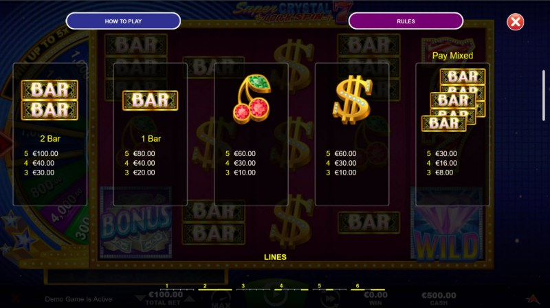 Super Crystal 7s Quick Spin :: Paytable