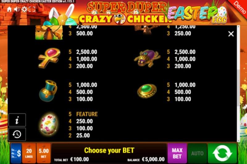 Super Duper Crazy Chicken Easter Egg :: Paytable - Low Value Symbols