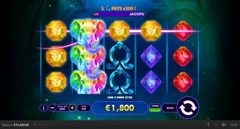 Super Elephant :: Stacked wild leads to multiple winning paylines