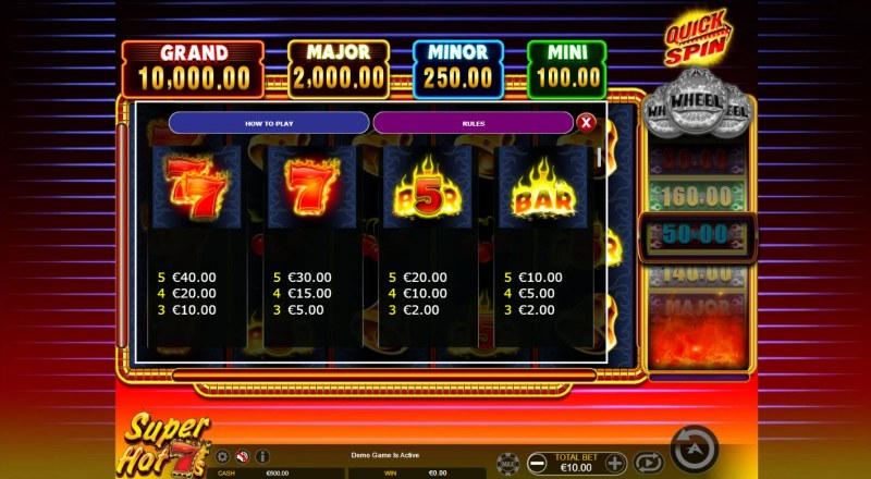 Super Hot 7s Quick Spin :: Paytable - High Value Symbols