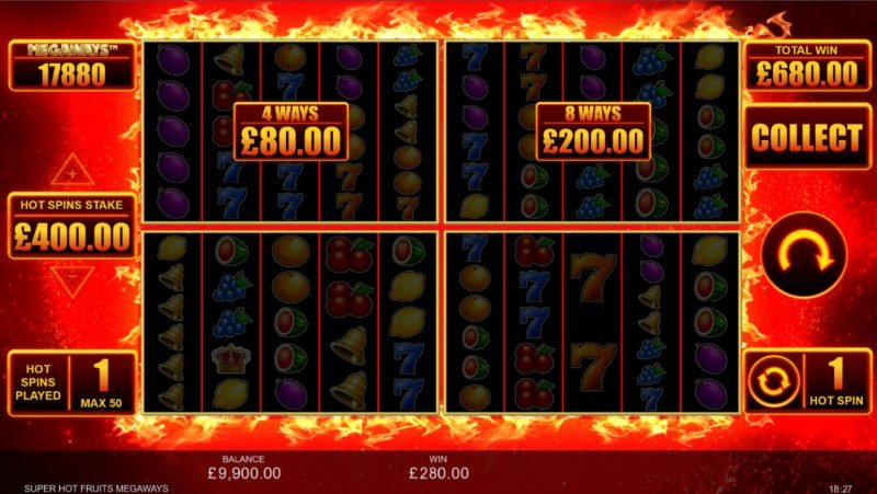 Super Hot Fruits Megaways :: Hot Spins feature triggered after any win greater than 4x stake