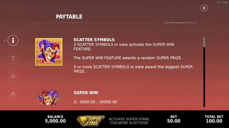 Super Joker Megaways :: Scatter Symbol Rules