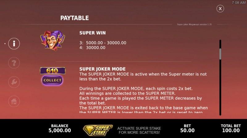 Super Joker Megaways :: Feature Rules