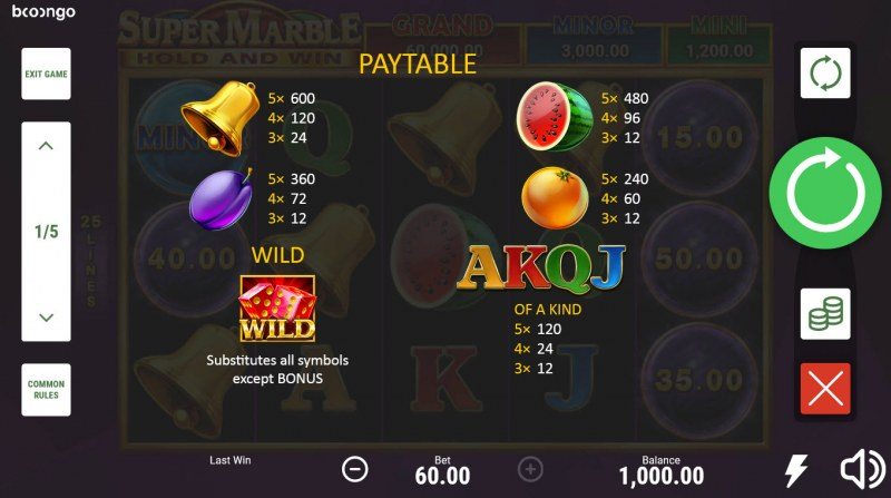 Super Marble Hold and Win :: Paytable