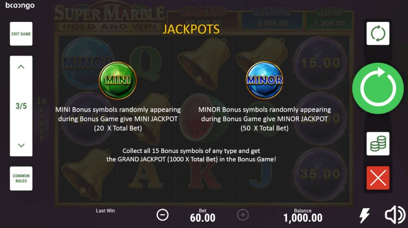 Super Marble Hold and Win :: Jackpot Rules