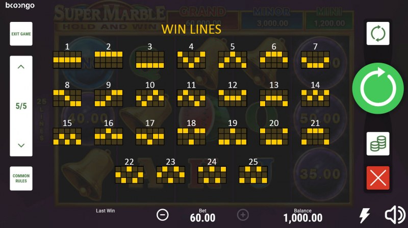 Super Marble Hold and Win :: Paylines 1-25