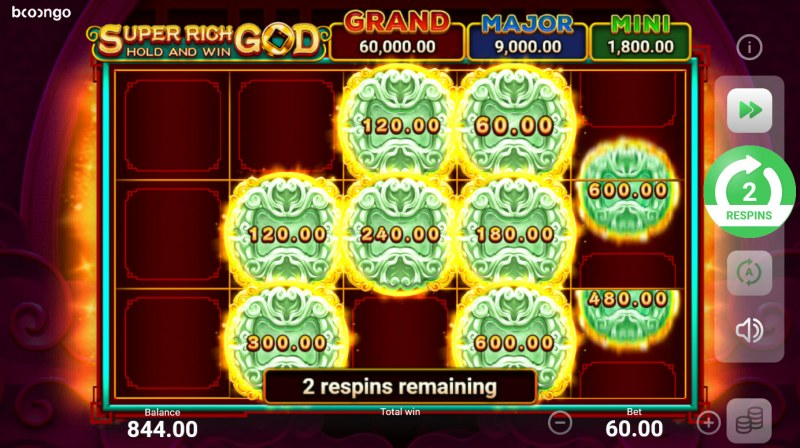 Super Rich God Hold and Win :: 3 respins awarded, land additional scatters to extended bonus play