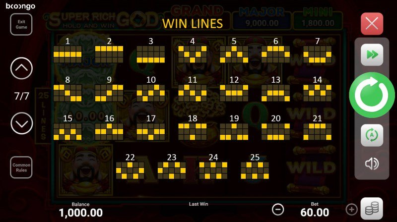 Super Rich God Hold and Win :: Paylines 1-25