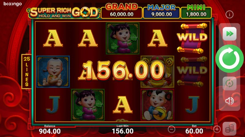 Super Rich God Hold and Win :: A five of a kind win