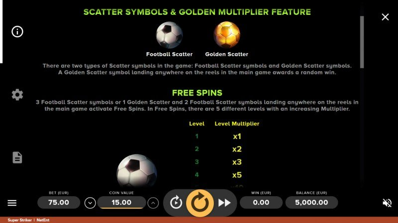Super Striker :: Scatter Symbol Rules