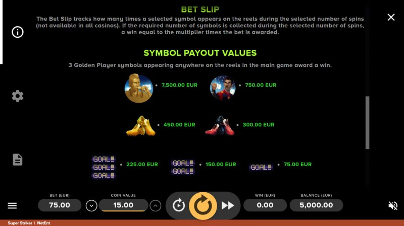 Super Striker :: Paytable
