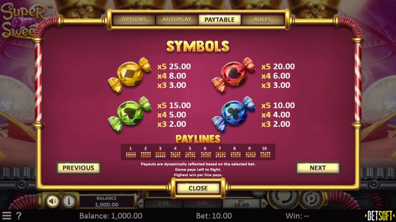 Super Sweets :: Paytable - Low Value Symbols