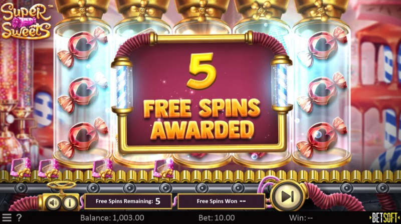 Super Sweets :: 5 Free Spins Awarded
