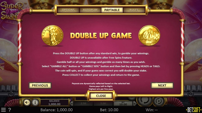 Super Sweets :: Double Up Game