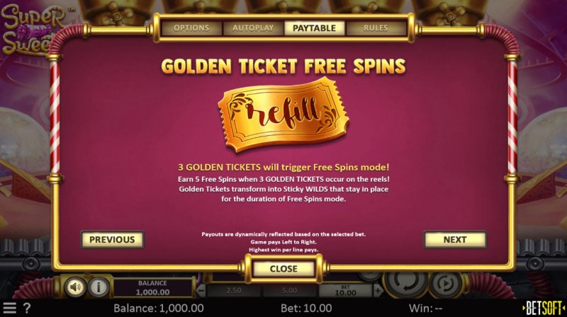 Super Sweets :: Golden Ticket Free Spins