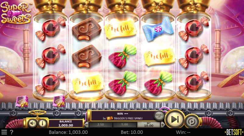 Super Sweets :: Scatter symbols triggers the free spins feature