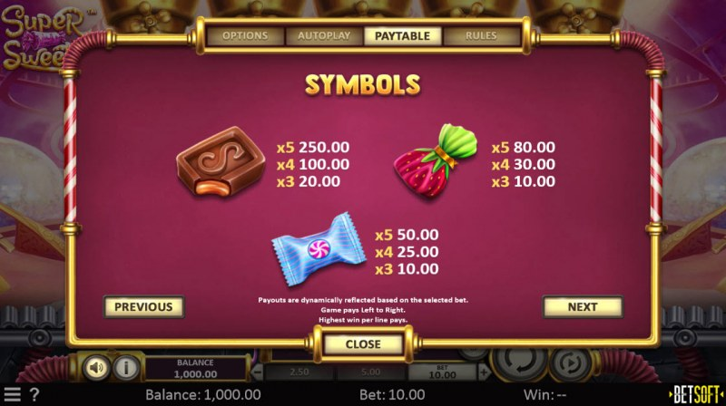Super Sweets :: Paytable - High Value Symbols