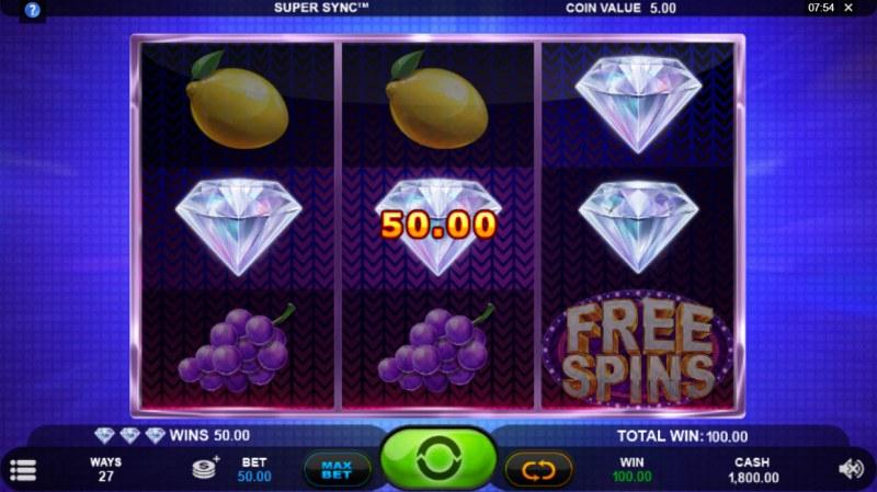 Super Sync :: A three of a kind win