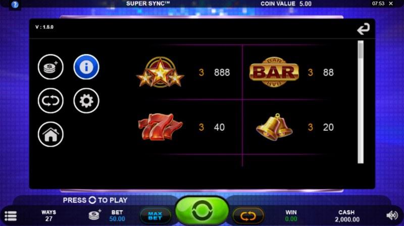 Super Sync :: Paytable - High Value Symbols