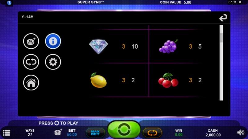 Super Sync :: Paytable - Low Value Symbols