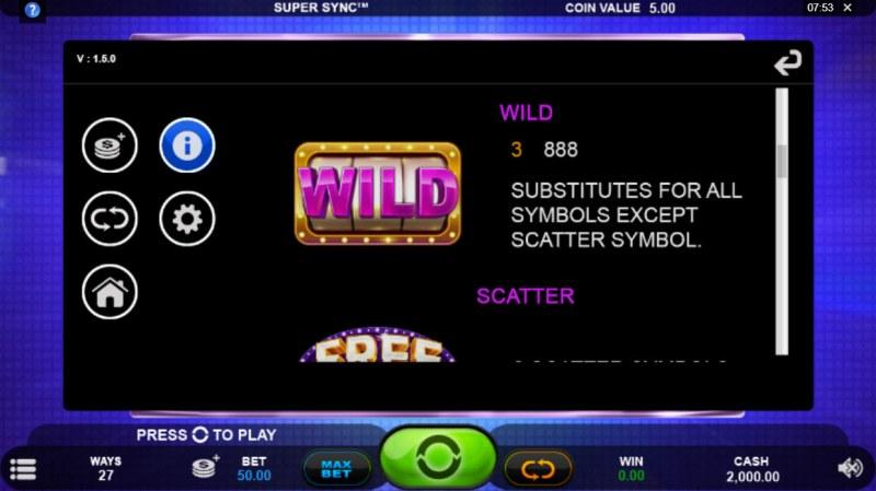 Super Sync :: Wild Symbol Rules